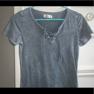 Gray distressed tie-up top